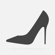Vector Icon Of A Shoe. Women's High-heeled Shoes On Grey Background