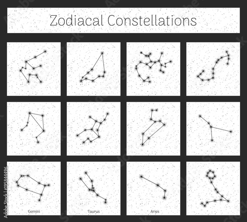 Set Zodiacal Constellations In Square White Background Realistic