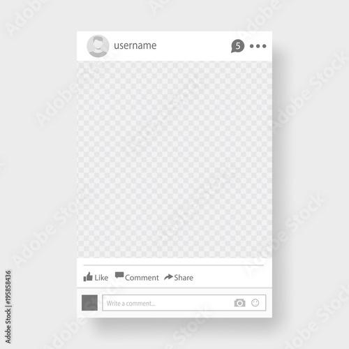 Fototapeta Social network post. Frame for your photo. Gray background. Vector illustration. obraz na płótnie