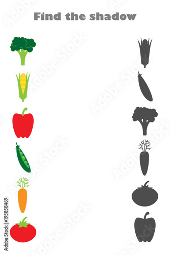 In de dag Kruiderij Find the shadow game with pictures of vegetables for children, education game for kids, preschool worksheet activity, task for the development of logical thinking, vector illustration