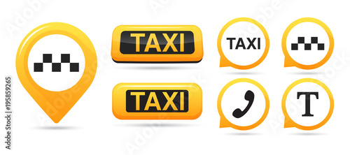 Taxi service vector icons Wallpaper Mural