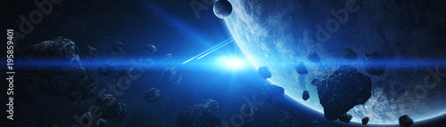 Poster Universe Panoramic view of planets in distant solar system 3D rendering elements of this image furnished by NASA