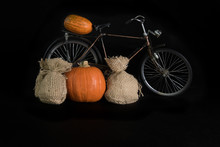 Pumpkins And Bicycle On A Blac...