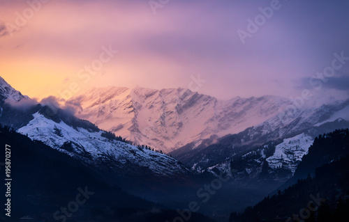 view after sunset of Mountains in manali ,Himachal Pradesh India