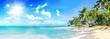 Leinwandbild Motiv Ferien, Tourismus, Sommer, Sonne, Strand, Meer, Glück, Entspannung, Meditation: Traumurlaub an einem einsamen, karibischen Strand :)