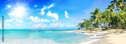 Foto auf Gartenposter Strand Ferien, Tourismus, Sommer, Sonne, Strand, Meer, Glück, Entspannung, Meditation: Traumurlaub an einem einsamen, karibischen Strand :)