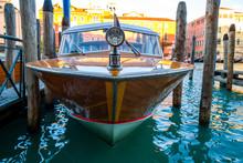 Wooden Retro Boat Taxi In Venice