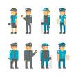Flat design polices set