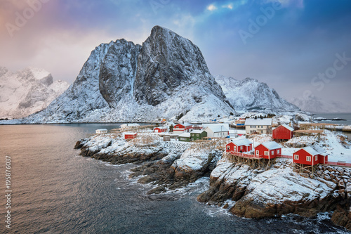 Deurstickers Noord Europa Hamnoy fishing village on Lofoten Islands, Norway