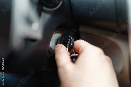 The Driver Of The Man Gets A Car With A Key The Hand Inserts The