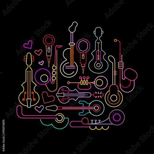 Poster Art abstrait Musical Instruments Neon Design