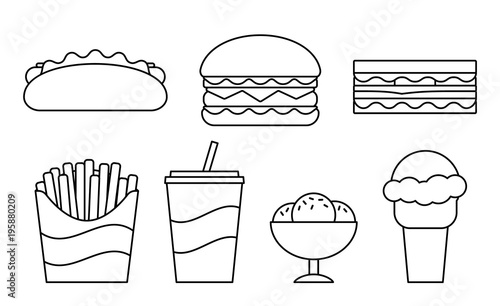 Fast food line icons. Vector. Set unhealthy meal in flat ...