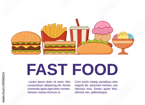 Fast Food Icons With Text Vector Set Unhealthy Meal In