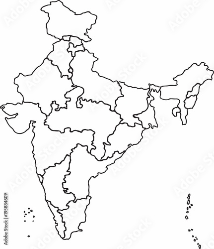 India Map Sketch Freehand sketch outline India map, vector illustration.   Buy this