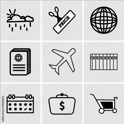 Stampe  Set Of 9 simple editable icons such as Shopping, Money in bag, Calendar, Heater,