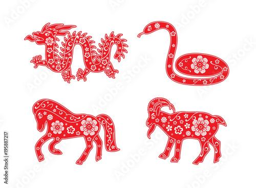 Poster  Chinese Horoscope animal set