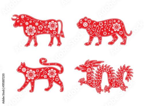 Poster  Bull, tiger, cat, dragon