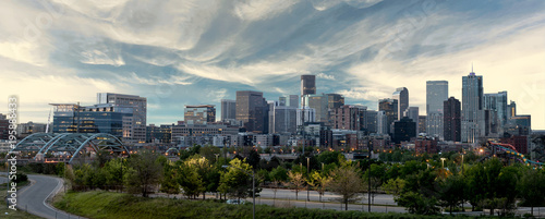 Printed kitchen splashbacks Beige Denver Skyline with morning colors and clouds over the city