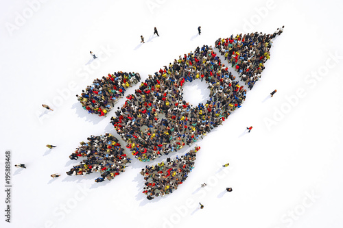 Fotografía  Many people together in a rocket shape. 3D Rendering