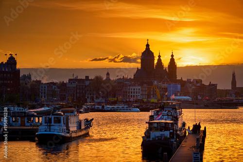 Staande foto Amsterdam Amsterdam cityscape skyline with Church of Saint Nicholas on su