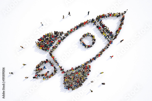 Many people together in a rocket shape. 3D Rendering Wallpaper Mural