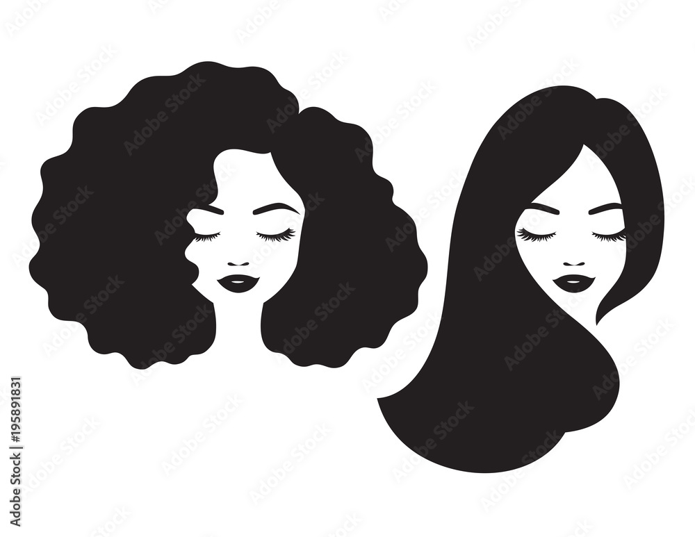 Fototapeta Beautiful woman and black African American woman face with afro and long straight hair vector illustration.
