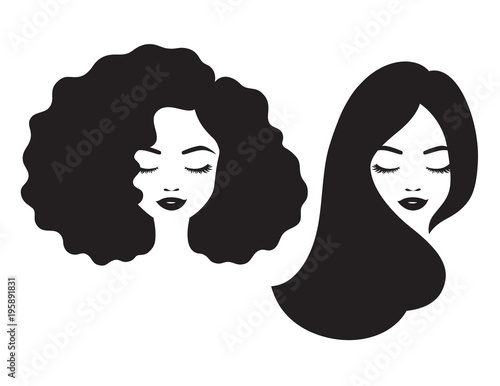 Beautiful woman and black African American woman face with afro and long straight hair vector illustration.  #195891831