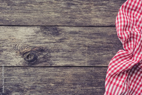 Red Kitchen Textile On Rustic Wood Picnic Summer Background Top View With Copy Space
