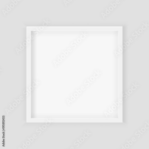 3D picture square frame design. Realistic Square White Blank Picture ...