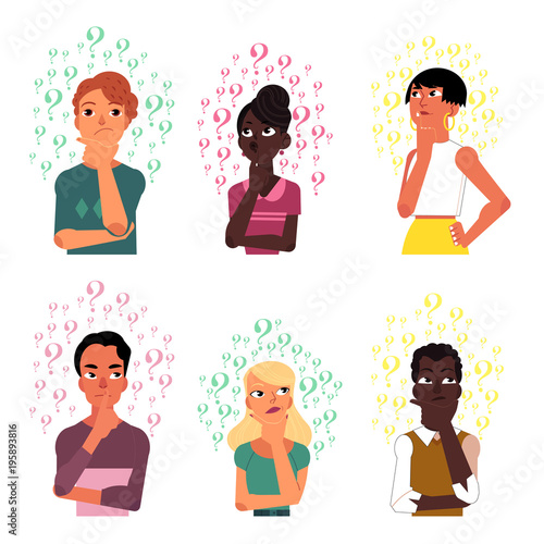 set of people men and women black and caucasian thinking