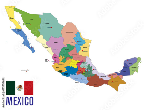 Valokuvatapetti Political map of Mexico