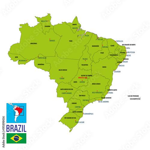 Valokuva  Political map of Brazil