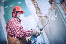 Worker With Demolition Hammer ...