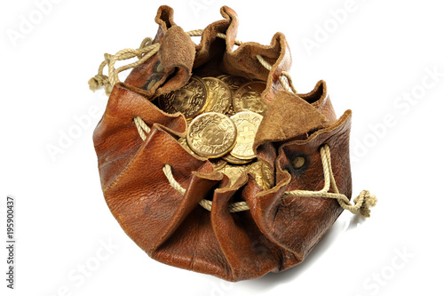 Fotografie, Tablou  Swiss Vreneli gold coins in a leather purse isolated on background