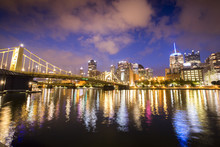 Reflections On The Allegheny River From Downtown Pittsburgh, Pennsylvania