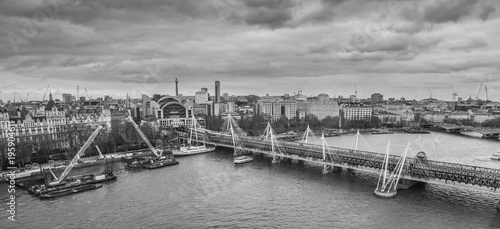 London, United Kingdom, February 17, 2018: Aerial cityscape over the river Thame Canvas Print