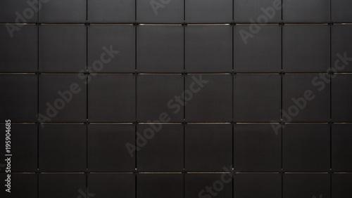 Fototapeta Black tile wall seamless background and texture obraz na płótnie