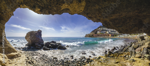 grotto on the beach on Playa del Cura, near playa Amadores ,Puerto Rico town, Gran Canaria, Canary Islands. Spain
