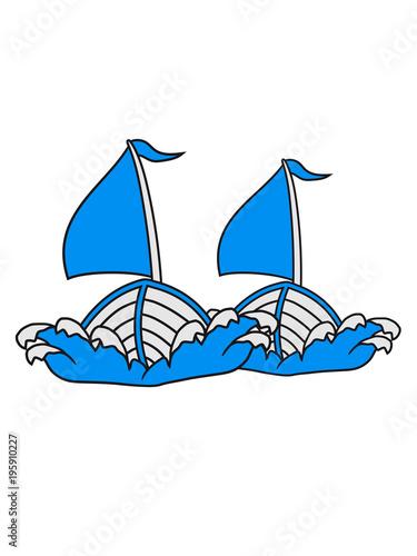 2 Freunde Team Paar Comic Cartoon Clipart Segeln Boot Schiff Verein