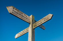 Close-up Of Signpost For Hiker...