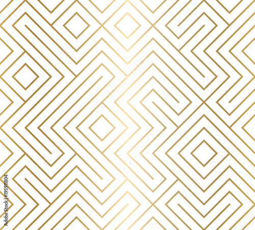 Geometric seamless pattern background. Simple graphic print. Vector repeating golden line texture. Modern swatch. Minimalistic shapes. Stylish trellis. Square grid. Trendy hipster sacred geometry.