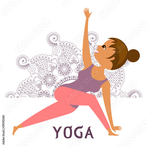 Girl doing yoga on the background of lilac mandala  One of