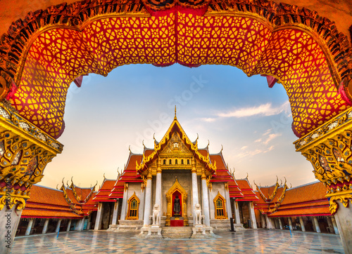 Ingelijste posters Bangkok Wat Benchamabophit Dusit Wanaram, Bangkok, Thailand