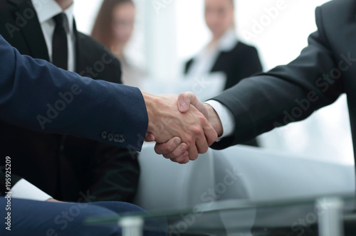 Fototapety, obrazy: Partners concluding deal and shaking hands in the presence of team members