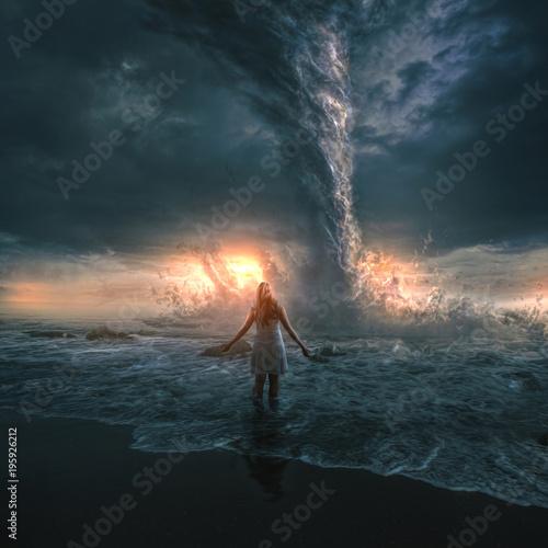 Valokuva  Woman and tornado
