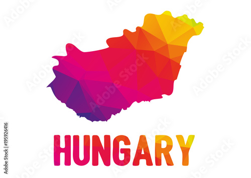 Low polygonal map of Magyarország (Hungary) with sign Hungary, both in warm colo Canvas Print