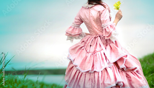 Fotografie, Obraz  Fairy tale portrait of a beautiful princess woman in medieval era dress with yel