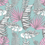 Fototapeta Sypialnia - Delicate pink and blue seamless pattern with graphic tropical flowers.