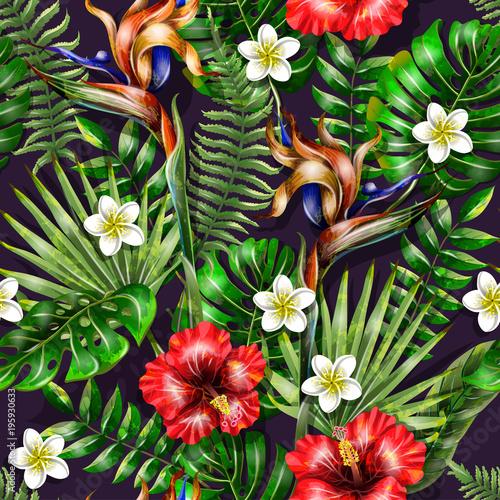 bezszwowy-wzor-z-tropikalnymi-kwiatami-i-liscmi