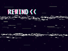 Rewind Glitch Background. Retro VHS Template For Design. Glitched Lines Noise. Pixel Art 8 Bit Style. Vector Illustration